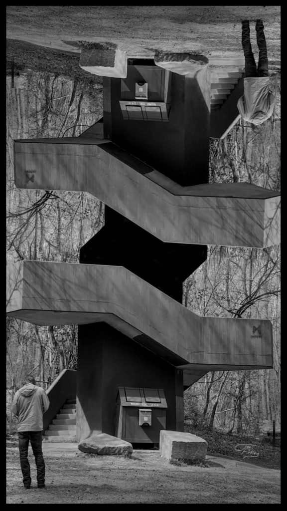 The entrance to the James river park system at forty-second street in Richmond Virginia makes for the perfect surreal black and white with a bit of manipulation.